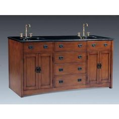 Bathroom 72 Inch Double Sink Vanity Mission Style Oak Top Single Hole Faucet Natural Wood 43 Bathtub To Shower Conversion 21 72 Inch Bathroom Vanity, Small Bathroom Vanities, Master Bathroom, Family Bathroom, White Bathroom, 72 Double Sink Vanity, Vanity Sink, Double Sinks, Craftsman Furniture