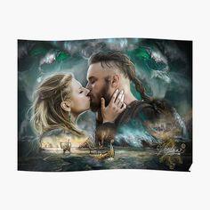 """Vikings Lagertha & Ragnar Lothbrok "" Poster by Vera-Adxer Vikings Time, Vikings Ragnar, Ragnar Lothbrok, Framed Prints, Canvas Prints, Art Prints, Ivana Baquero, Sword Drawing, Ryan Hurst"