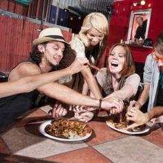 Group of happy people eating out at mobile restaurant by CREATISTA, via ShutterStock Mobile Restaurant, Mobile Cafe, Restaurant Photos, Pizza Chef, Eat Pizza, Persona Feliz, Photo Grouping, People Eating, Digital Signage