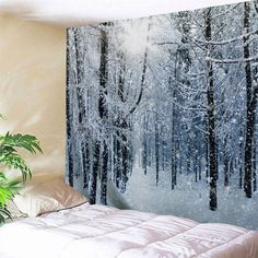 Wall Hanging Art Decor Snow Forest Print Tapestry - Grey White Inch * In. Cheap Wall Tapestries, Hanging Art, Tapestry Wall Hanging, Wall Hangings, Inspire Me Home Decor, Reproductions Murales, Blanket On Wall, Wall Blankets, Tapestry Online