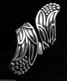 Vintage Jesus Taxco Mexico Mexican Sterling Silver Feather Wrap Ring 18777