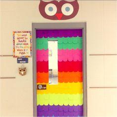 My owl door for my classroom! Owl Theme Classroom, Classroom Door, Classroom Ideas, Preschool Door, Preschool Classroom, Owl Door Decorations, School Fun, School Stuff, School Ideas