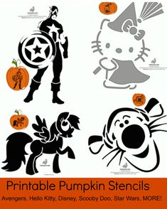 FREE Printable Pumpkin Stencils: Avengers, Hello Kitty, Disney, Scooby Doo, Star Wars and MORE halloween shilouettes Printable Pumpkin Stencils, Pumpkin Template, Pumpkin Carving Templates, Halloween Pumpkins, Halloween Crafts, Halloween Decorations, Halloween Labels, Halloween Halloween, Vintage Halloween