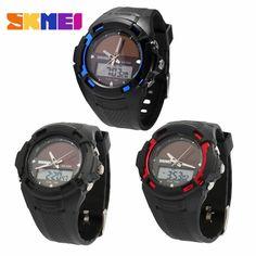 SKMEI LED Outdoor Men Sport Watch Solar Energy Waterproof Digital Quartz Dual display Wrist Watches Top Luxury Relogio Masculino