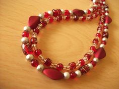 Ruby Red Necklace by InspiredByKarma on Etsy, $20.00