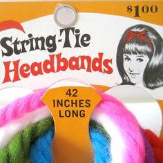 Vintage 1960s StringTie Headbands by haroldlovesmod on Etsy