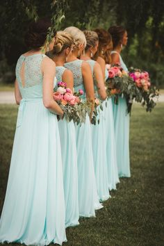 Gorgeous lace-top bridesmaid dresses with flowing long chiffon skirts in mint blue | Melissa Alderton Photography | Kennedy Blue Delilah