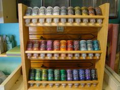 Great idea for paint storage. Old spice rack. Pinner got it for just 25 cents at a garage sale. Scrapbook Room Organization, Scrapbook Storage, Craft Organization, Paint Storage, Craft Room Storage, Storage Ideas, Craft Rooms, Garage Storage, Diy Storage