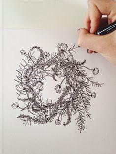 Jenna Rainey // Mon Voir Ferns, foxglove and poppies - wreath in progress