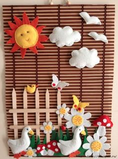 You can prepare such a beautiful and different wall board by using felt figures. / isn't this felt wall decor amazing? Cute Crafts, Felt Crafts, Diy And Crafts, Crafts For Kids, Arts And Crafts, Diy Projects To Try, Sewing Projects, Diy Y Manualidades, Felt Books
