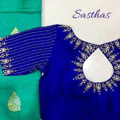 The beauty of pearls 💗 For bridal appointments call 9894580666 ! Pattu Saree Blouse Designs, Half Saree Designs, Fancy Blouse Designs, Bridal Blouse Designs, Maggam Work Designs, Stylish Blouse Design, Maggam Works, Work Blouse, Blouse Patterns