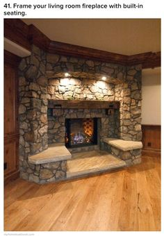 Frame your living room fireplace with built-in seating. 35 Outstanding Interior European Style Ideas To Rock This Summer – Frame your living room fireplace with built-in seating. Rustic Fireplaces, Fireplace Mantels, Mantles, Fireplace Ideas, Stone Fireplaces, Fireplace Frame, Fireplace Design, Faux Fireplace, Stone Mantle