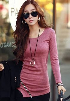 Red Plain Zipper Irregular Slim Classic T-Shirt