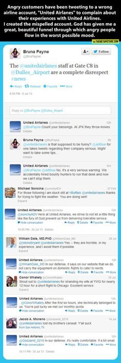 "Guy creates a ""UnitedairlAnes"" Twitter account and pranks an airline's unhappy customers. Hilarious."