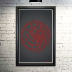 """Game of Thrones Targaryen word art print, 11x17. This print is made entirely out of words! The image shows the House Targaryen banner formed with their house words, names of the house members, and their quotes. When you purchase this print, you'll be finding more of your favorite quotes and scenes for hours. This is an 11x17"""" image printed on archival quality paper. Please note this is a print only, unframed."""