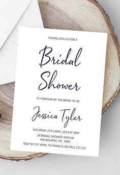 Bridal shower invitation printable, modern bridal shower ideas, rustic bridal shower invites from Pink Summer Designs on Etsy