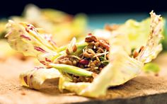 Use lettuce to wrap up this delicious Chinese pork and noodle mix