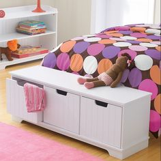 storage bench--no lid to mash the kids' fingers! I like it.