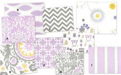 YOU DESIGN Custom 3 piece Crib Bedding Set - Bumper, Skirt and Comforter - Purple, Gray, Lavender, Yellow and White. $295.00, via Etsy.