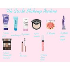 7th Grade Makeup Routine by sweet-cakes101 on Polyvore featuring beauty, Trish McEvoy, Kat Von D, NYX, Milani, Urban Decay, Victoria's Secret, Too Faced Cosmetics, Clean & Clear and COOLA Suncare