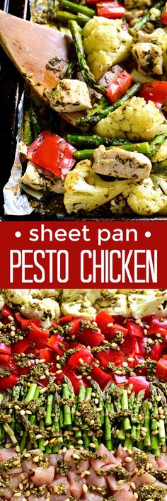 This Sheet Pan Pesto Chicken is loaded with veggies and packed with delicious flavor! Best of all, it requires just 10 minutes of prep and 20 minutes in the oven....all on just one pan!