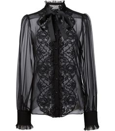 Comprar Dolce & Gabbana floral lace bib blouse en Coltorti from the worlds best Sheer Black Shirt, Black Sheer Blouse, Black Long Sleeve Shirt, Black Lace Tops, Lacy Tops, Black Lace Shirts, White Shirts, Black Laces, Sheer Shirt Outfits