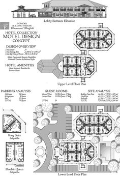 Commercial Collection - Entry-Level Motel w/ Lobby, Guest Rooms & King Suites Commercial Design Concept Restaurant Floor Plan, Hotel Floor Plan, Restaurants, Hotel Amenities, Building Systems, Hotel Motel, Plan Design, Design Concepts, Commercial Architecture