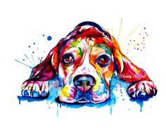 Beagle Dog Colorful Art Print  Print of Original by WeekdayBest. Watercolor painting.