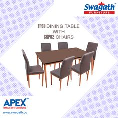 Swagath's APEX range of #furniture is offering the latest TP08 model dining #table with CHP02 #chairs for your dining room to give a royal look!!