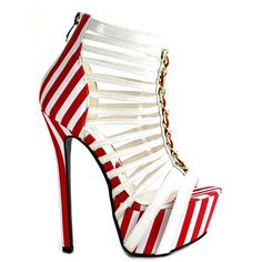 Red Kiss Candy-Cane White Striped Nautical Peep Toe Platform sandals #heels #shoes Red