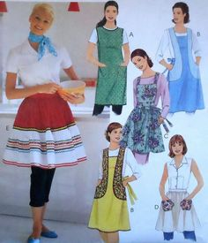 Retro Style Aprons Sewing Pattern