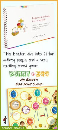 Free activity pack with Easter-themed educational board game and Easter activity pages for preschool and kindergarten children