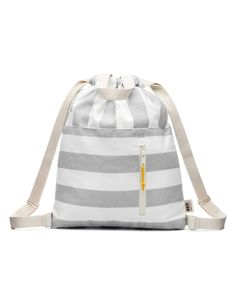 Modern storm grey and white stripe 100% cotton canvas drawstring backpack with handles, adjustable shoulder straps and an open and zippered front