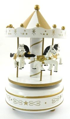 Wood Hand Painted Horse Carousel Musical Box Wind Up Jingle Bells Christmas Gold