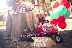 How about teddy bear's picnic theme? I bet Grandma thinks that's baby enough ; Picnic Theme, Picnic Birthday, First Birthday Parties, Birthday Party Themes, First Birthdays, 2nd Birthday, Birthday Ideas, Kid Parties, Teddy Bear Birthday