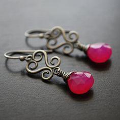 Earrings Oxidized Sterling Silver Hot Pink by WildRoseJewels