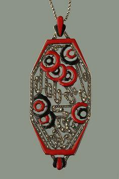 ART DECO Pendant. Silver,  Ename, Marcasite. Marks: 'PL' & Eagle's head. French, c.1925