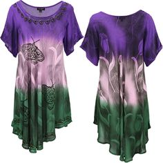 Butterfly Garden Short Sleeve Tunic at The Breast Cancer Site