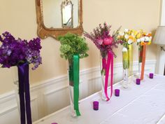 Place Card Table Design,  Rainbow of  Flower Vases. KarrieHlistaDesigns.Com