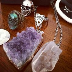 Skull ring, stone necklaces, rings, accessories