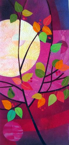 """Magenta October Gift. 11.5x24"""" hand dyed cottons and silks, machine quilted, fused, and hand embroidered"""