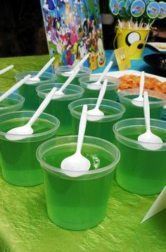 Slimey Princess Jelly Cups - might do pink or red jelly and add a white Freddo frog!
