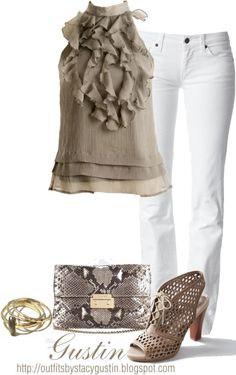 taupe and white - We more conservative dresses are always on the lookout for cute super clothing that is still modest- this outfit takes the cake for summer. Throw on a cute cardi for church/work. Summer Outfits, Casual Outfits, Fashion Outfits, Womens Fashion, Style Me, Cool Style, White Pants, White Denim, Swagg