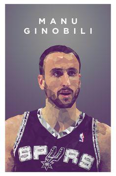 Manu Ginobili Lowpoly Portrait