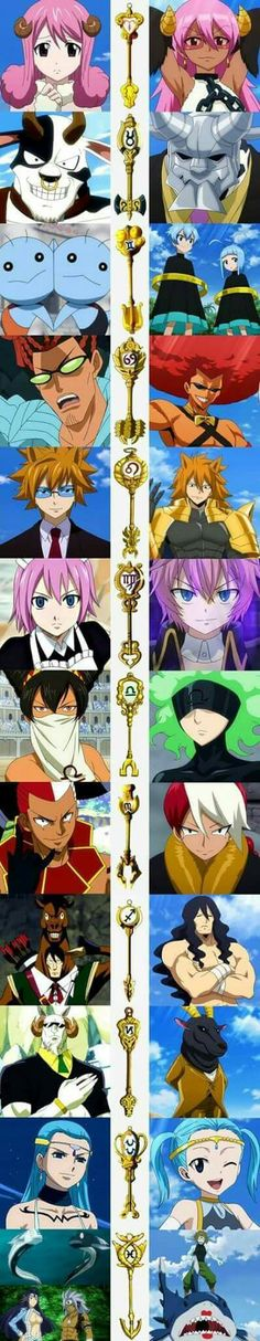 Fairy Tail Celestial Spirits along with their Keys and their Eclipse Counterparts: [Aries / Taurus / Gemini / Cancer / Leo (Loke) / Virgo / Libra / Scorpio / Sagittarius / Capricorn / Aquarius / Pisces] Fairy Tail Ships, Fairy Tail Love, Got Anime, I Love Anime, Anime Art, Fairytail, Gruvia, Fairy Tail Anime, Otaku
