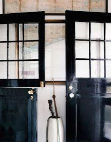 high gloss black door