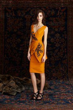 Pamella Roland   Pre-Fall 2016   04 Orange embroidered sleeveless midi dress