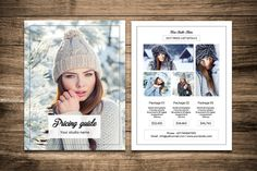 Photography Price List Templates **Photography Pricing Guide Template Winter Photography Marketing Templ by Template Shop Photography Price List, Photographer Packaging, Flyer Template, List Template, Templates, Photo Folder, Photography Marketing, Photography Flyer, Winter Photography