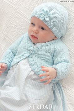 Knitting Pattern for Sirdar Snuggly Baby Bolero and Hat with Flower 1817 - To Fit Age: Premature to 12 Months