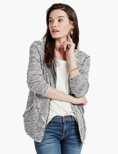 Lucky Brand Landscape Fring Jacket Womens - Gray Multi (L)
